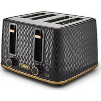 TOWER Empire Collection T20061BLK 4-slice Toaster - Black, Black.