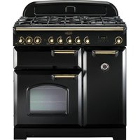 RANGEMASTER Classic Deluxe 90 Dual Fuel Range Cooker - Black and Brass, Black