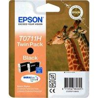 EPSON Giraffe T0711H Black Ink Cartridges - Twin Pack, Black