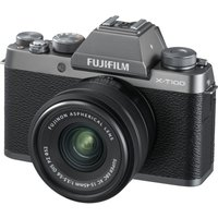 Fujifilm X-t100 Mirrorless Camera With Fujinon Xc 15-45 Mm F/3.5-5.6 Ois Pz Lens - Dark Silver, Silver