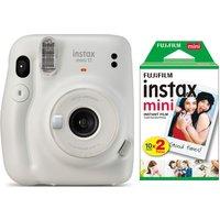 INSTAX mini 11 Instant Camera & 20 Shot INSTAX Mini Film Pack Bundle - Ice White, White
