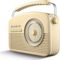 Akai A60010cdabbt Portable Dabﱓ Retro Bluetooth Clock Radio - Cream, Cream