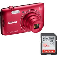 Nikon COOLPIX A300 Compact Camera & 16 GB Memory Card Bundle