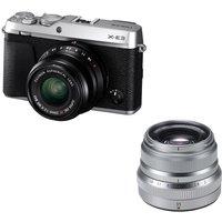 Fujifilm X-e3 Mirrorless Camera, Xf 23 Mm F/2 R Wr Lens & Fujinon Xf 35 Mm F/2 R Wr Standard Prime Lens Bundle - Silver, Silver
