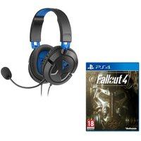 TURTLE BEACH Earforce Recon 50p Gaming Headset & Fallout 4 Bundle - Black & Blue, Black