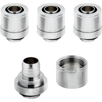 CORSAIR Hydro X Series XF 10 13 mm Compression Fitting   G1 4   Chrome  Pack of 4