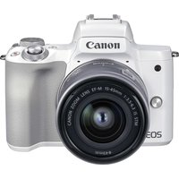 CANON EOS M50 Mark II Mirrorless Camera with EF-M 15-45 mm f/3.5-6.3 IS STM Lens - White, White