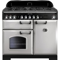 RANGEMASTER Classic Deluxe 100 Dual Fuel Range Cooker - Royal Pearl and Chrome, Brown