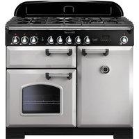 RANGEMASTER Classic Deluxe 100 Dual Fuel Range Cooker - Royal Pearl & Chrome
