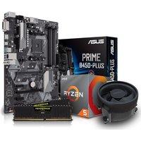 PC SPECIALIST AMD Ryzen 5 Processor, PRIME B450M PLUS Motherboard, 8 GB RAM & AMD Cooler Components Bundle