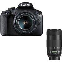 CANON EOS 2000D DSLR Camera, EF-S 18-55 mm f/3.5-5.6 IS II Lens & EF 70-300 mm F/4-5.6 Lens Bundle
