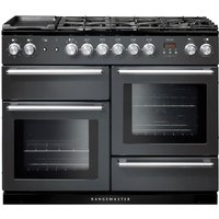 Rangemaster Nexus NEX110DFFSL/C 110 cm Dual Fuel Range Cooker - Slate and Chrome, Red