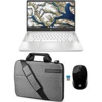 "HP 14a 14"" Chromebook, Messenger Bag & Wireless Mouse Bundle - Intel®Pentium Silver, 64 GB eMMC, White, Silver"