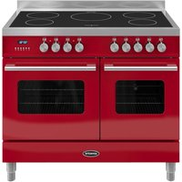 BRITANNIA Delphi 100 Twin Electric Induction Range Cooker - Gloss Red & Stainless Steel, Stainless Steel