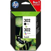 HP Combo 302 Tri-colour & Black Ink Cartridges - Multipack, Black
