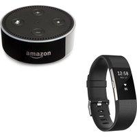 Fitbit Charge 2 & Echo Dot Bundle - Black, Large, Black