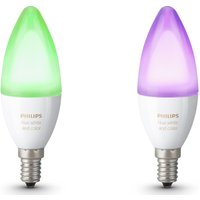 PHILIPS Hue White   Colour Ambience Wireless Bulb   E14  Twin Pack  White