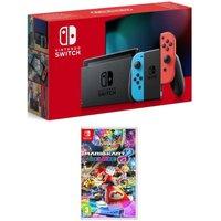 NINTENDO Switch Neon Red & Mario Kart 8 Deluxe Bundle, Neon