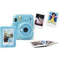 INSTAX mini 11 Instant Camera with Mini Film Pack & Clear Case Bundle - Sky Blue, Blue