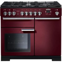 RANGEMASTER Professional Deluxe 100 Dual Fuel Range Cooker - Cranberry and Chrome, Cranberry