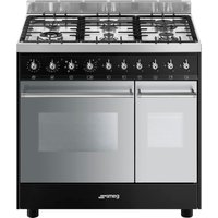 SMEG C92DBL9 90 cm Dual Fuel Range Cooker - Black and Stainless Steel, Stainless Steel