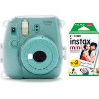 INSTAX mini 9 Instant Camera, Film, Case, LED Peg Lights, Frame Stickers & Mini Film Bundle, White