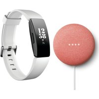 FITBIT Inspire HR Fitness Tracker & Coral Nest Mini Bundle - White, Universal, Coral
