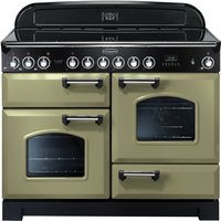 Rangemaster Classic Deluxe 110 Electric Range Cooker - Olive Green and Chrome, Olive