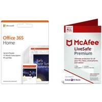MICROSOFT Office 365 Home (1 year, 5 users) & McAfee LiveSafe Premium (1 year, unlimited devices) Bundle