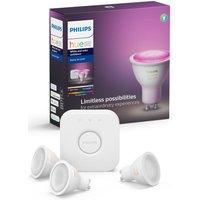 PHILIPS HUE Hue White   Colour Ambience Smart Lighting Starter Kit with Bridge   GU10  White