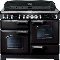 Rangemaster Classic Deluxe 110 Electric Ceramic Range Cooker - Black and Chrome, Black