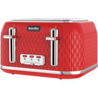 Buy BREVILLE Curve VTT914 4-Slice Toaster - Red, Red - Currys PC World