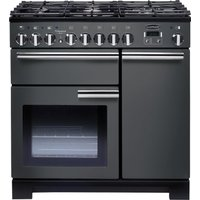 Professional Deluxe 90 cm Dual Fuel Range Cooker - Slate & Chrome, Red