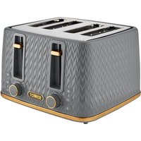TOWER Empire Collection T20061GRY 4-slice Toaster - Grey, Grey.