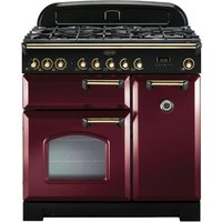 RANGEMASTER Classic Deluxe 90 Dual Fuel Range Cooker - Cranberry and Brass, Cranberry