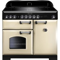 Rangemaster Classic Deluxe 100 Electric Induction Range Cooker - Cream and Chrome, Cream