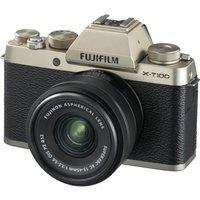Fujifilm X-t100 Mirrorless Camera With Fujinon Xc 15-45 Mm F/3.5-5.6 Ois Pz Lens - Champagne Gold, Gold