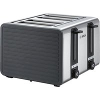 Buy BOSCH Silicone TAT7S45GB 4-Slice Toaster - Black and Grey, Black - Currys