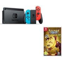 Nintendo Switch & Rayman Legends: Definitive Edition Bundle, Neon