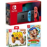 Nintendo Switch Neon, Donkey Kong Country: Tropical Freeze & PowerA Donkey Kong Wired Controller Bundle, Neon