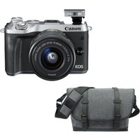 Click to view product details and reviews for Canon Eos M6 Mirrorless Camera 15 45 Mm F 35 63 Lens Bag Bundle Grey.