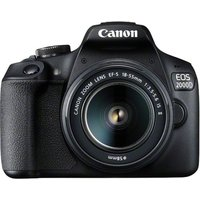 CANON EOS 2000D DSLR Camera with 18-55 mm f/3.5-5.6 Lens - Black, Black