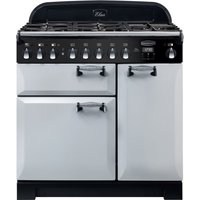 Rangemaster Elan Deluxe ELA90DFFRP 90 cm Dual Fuel Ranger Cooker - Pearl and Chrome, Red