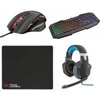 Trust 168 Haze Gaming Mouse, 830-rw Avonn Gaming Keyboard, 363 Hawk Bass 7.1 Gaming Headset & Xl Gaming Surface Bundle