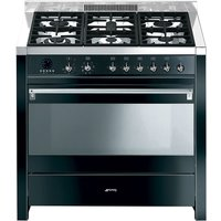 SMEG Opera 90 Dual Fuel Range Cooker - Black & Stainless Steel, Stainless Steel