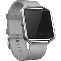 FITBIT Blaze Leather Accessory Band - Large, Grey, Grey