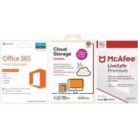 Microsoft Office 365 Home, 2 Tb Cloud Storage & Livesafe Premium Unlimited Bundle