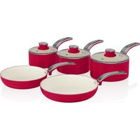 SWAN SWPS5020RN 5-piece Non-stick Saucepan Set - Red, Red