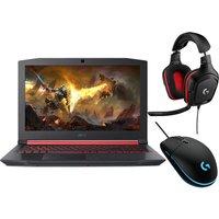 "Acer Nitro 5 15.6"" Gaming Laptop, Logitech G332 Headset & G203 Mouse Bundle, Black"