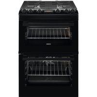 ZANUSSI ZCK66350BA 60 cm Dual Fuel Cooker - Black, Black